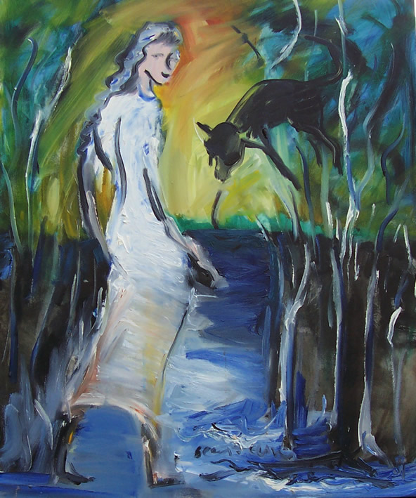 oil painting of a bride and a dingo in the mangroves