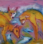 An oil painting of three dingoes standing in the sea and looking at fish