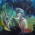 Oil painting of a bride in the mangroves