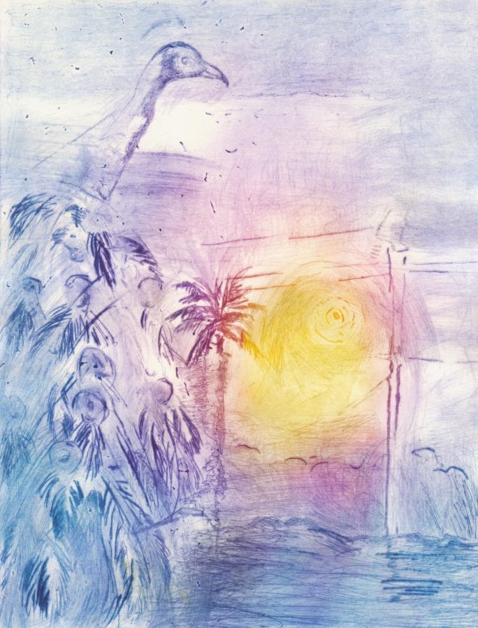 picture of a peacokc, the sun and palm trees in purple yellow and blue
