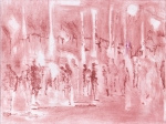 A picture of hazy figures in a red street scene