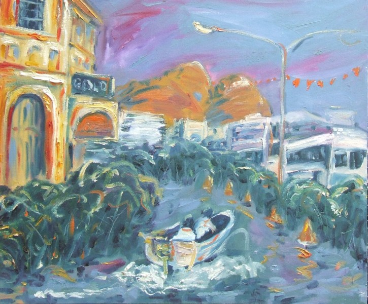 An oil painting of a Townsville St with mangroves and a tinnie sailing down the street