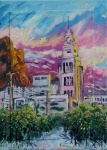 An oil painting of the old T&G building surrounded by mangroves. This building has since been demolished.
